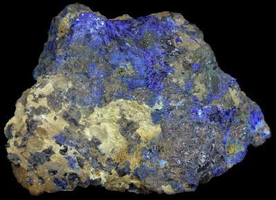 Azurite, franklinite, calcite and minor malachite from Sterling Hill Mine, NJ