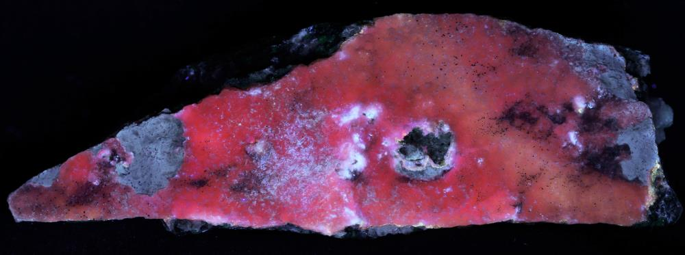 Calcite druze on franklinite and willemite from the Sterling Hill Mine, Ogdensburg, NJ under midwave UV Light