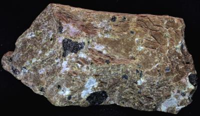 """Diopside """"zinc schefferite"""", willemite with minor franklinite and rhodonite, from Franklin, NJ"""