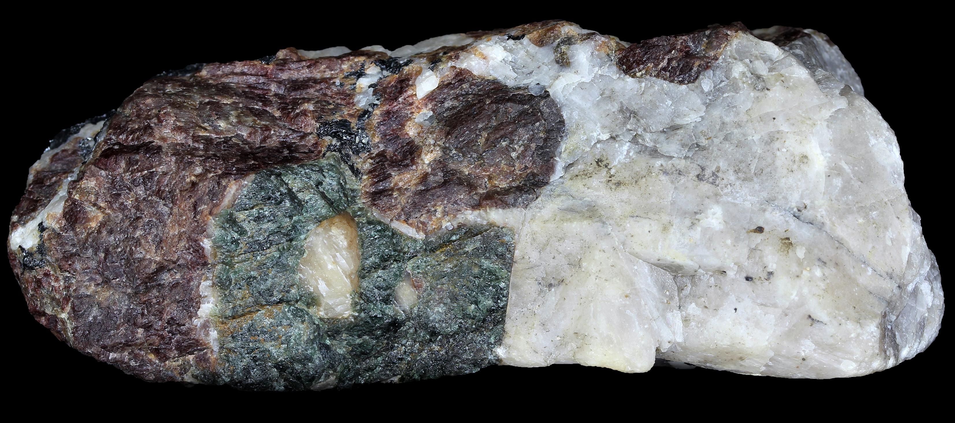 Fluorapatite, grape willemite, calcite and franklinite from Franklin, NJ