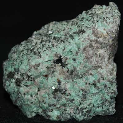 Microcline var amazonite, calcite, and willemite from Franklin, NJ