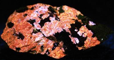 Sphalerite, willemite, franklinite and chrysotile from Sterling Hill Mine, NJ. under longwave UV Light