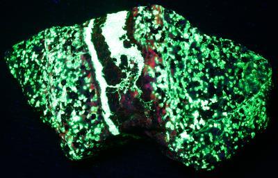 Sphalerite vein in willemite, calcite, franklinite ore from Sterling Hill, NJ. under shortwave UV Light